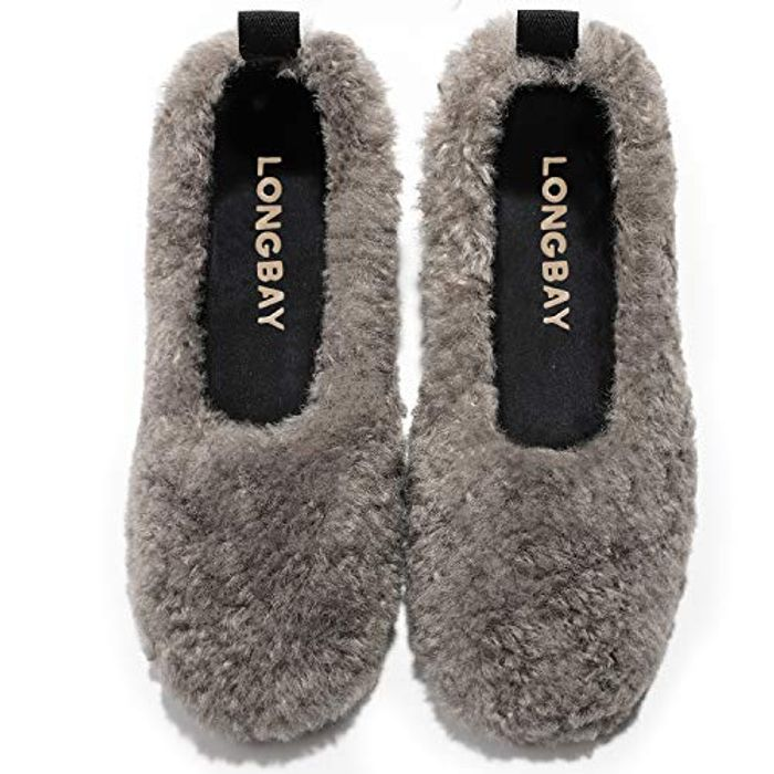 LongBay Womens Fuzzy Curly Anti-Slip Slippers - Only £5!
