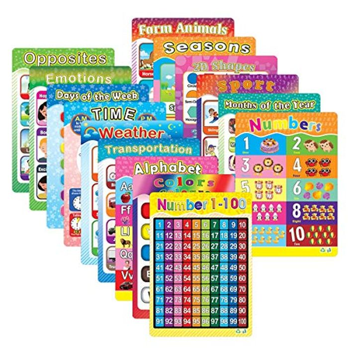 Educational Poster Laminated Wall Chart, 15 Pack - Only £7.49!