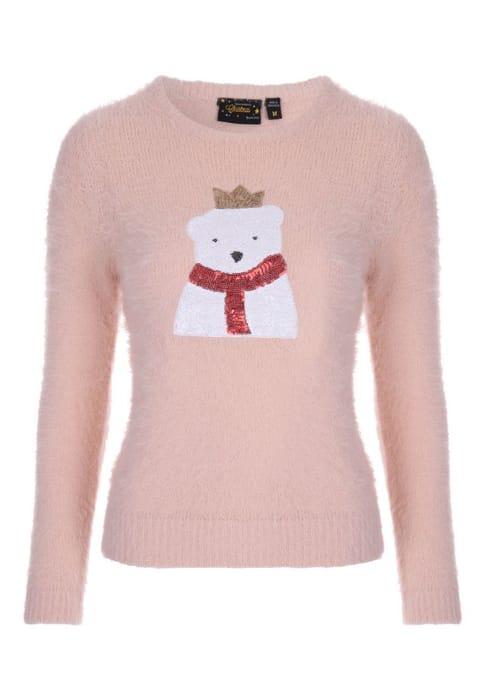 Womens Pink Sequin Bear Christmas Jumper