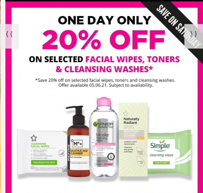 Save on Saturday Extra 20%off Selected Facial Cleansing 1/2 Price,Buy1 Get1 Free