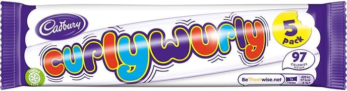 Cadbury Curly Wurly Chocolate Bar, 5 Pack
