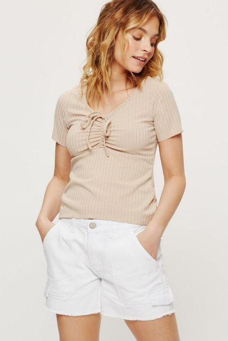 Petite Camel Ruched Front Rib Top