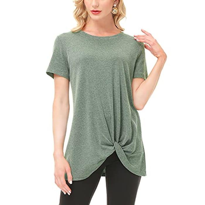 Women's Comfy Casual Tops Twist Knot Soft T-Shirts