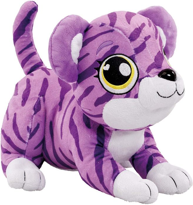 Cuddly Purple Tiger Soft Toy with Sounds