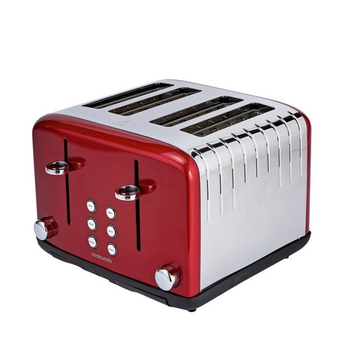 Cookworks Pyramid 4 Slice Toaster Red - Save £15