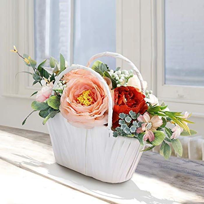 Artificial Flower Basket Gift / Centre Piece with Voucher red one still valid
