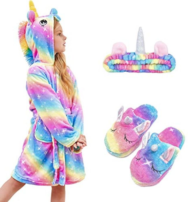 Unicorn Hooded Bathrobe with Matching Unicorn Slippers and Headband