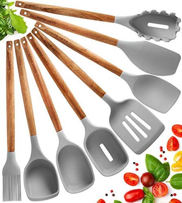 8 Pcs Natural Acacia Wooden Silicone Utensils Set with £10 off Coupon