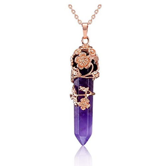 CrystalTears Natural Amethyst Healing Crystal Stone Necklace - Only £5.49!