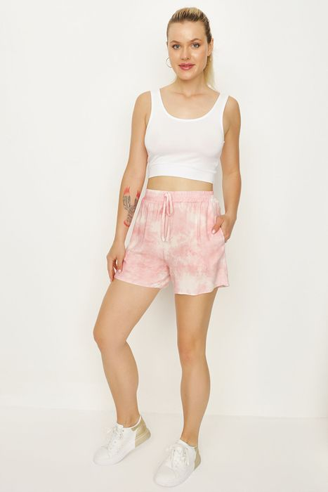 Pink Tie Dye Shirred Waist Woven Shorts