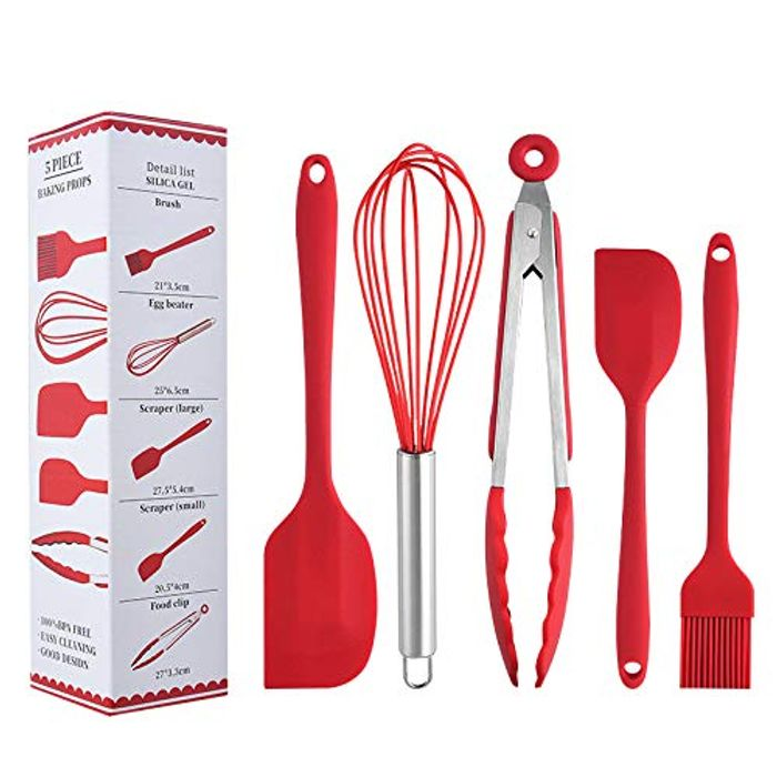 Silicone Heat-Resistant Five-Piece Baking Tool for Cooking, (Red) - Only £6.94!