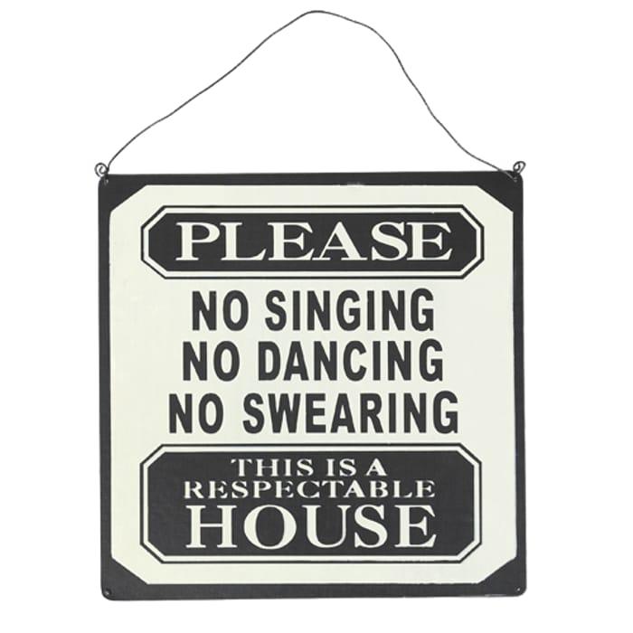 No Singing Metal Sign