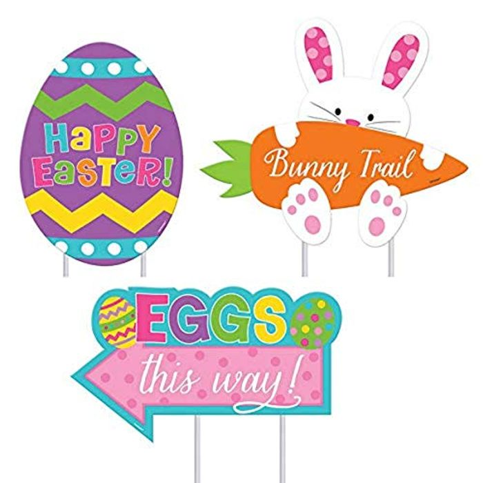 Amscan Colorful Easter Bunny & Eggs Garden Signs(3-Piece), 1 Pack - Only £0.71!