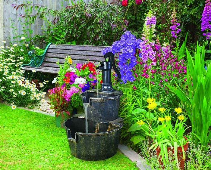 2 Tier Outdoor Water Fountain with Pump *Free P&P