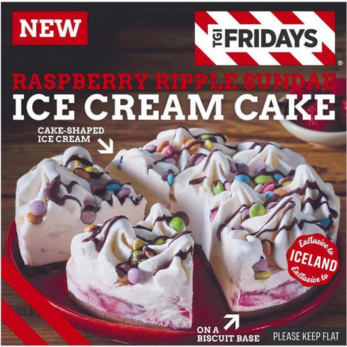 * NEW and EXCLUSIVE * TGI Fridays Raspberry Ripple Sundae Ice Cream Cake 350g
