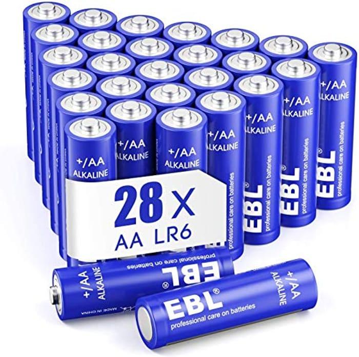 EBL AA Batteries 1.5V AA Alkaline Battery, Pack of 28 - Only £3.99!
