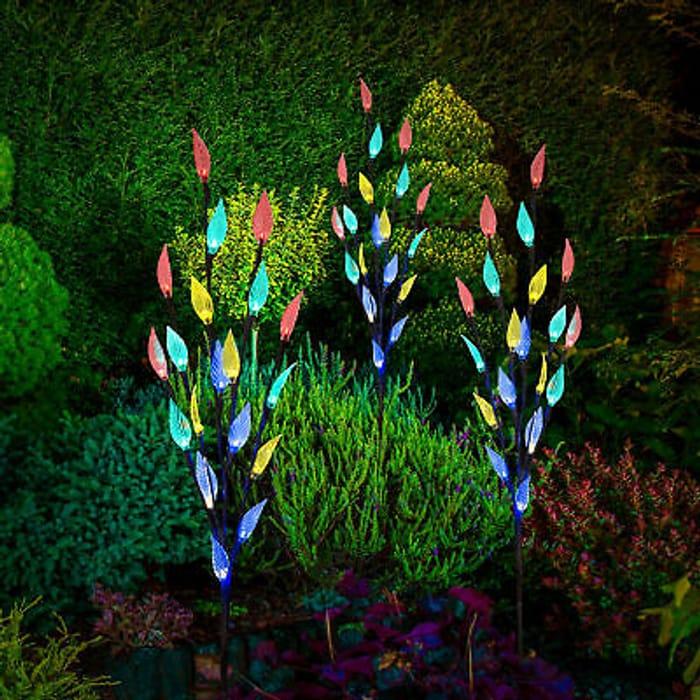 56% Off - 3 X LED Coloured Solar Tree Garden Lights - £12.99 Delivered