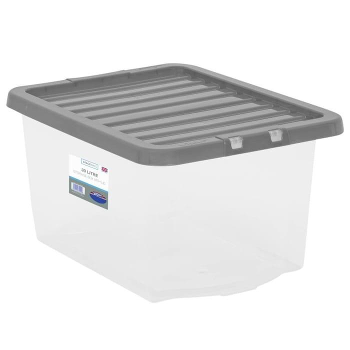 Clear Storage Box with Lid 30L - Grey
