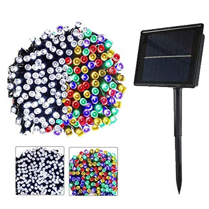 Solar Outdoor String Lights 72ft 200 LED White and Multicolor