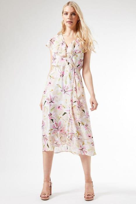 Billie Black Label Ivory Ruffle Midi Dress