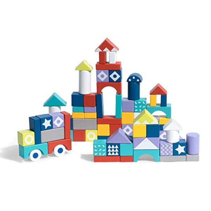 ROBOTIME 60 PCS Wooden Building Blcoks Construction Set Toys - Only £9.99!