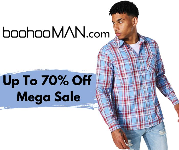 boohooMAN Up To 70% Sale - Inc £3 T-Shirt, £4 Sliders, £5 Shirt & £7 Joggers!