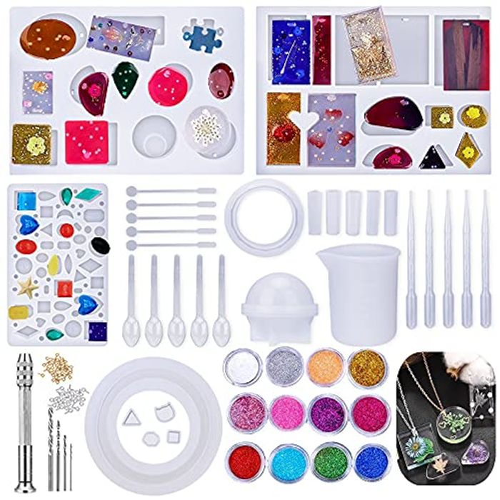 Silicone Resin Craft Mold Kit with Drill and Bag, 98 Pcs - Only £4.8!