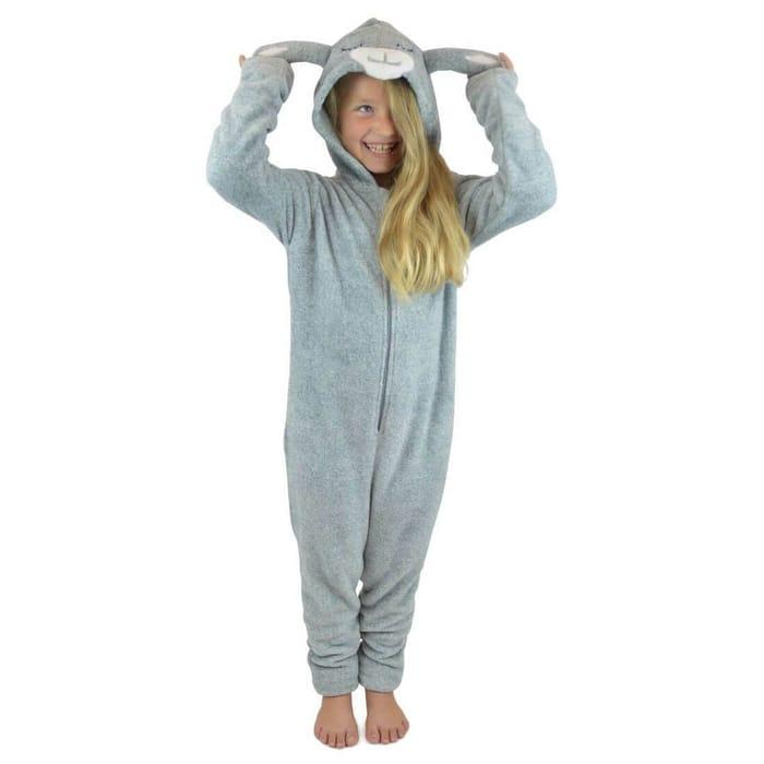 Kids Hooded All in One Lamb Grey Fleece Pyjamas Sleep Suit