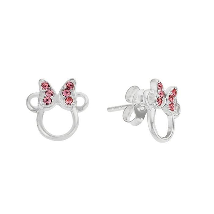 Best Price! Disney Minnie Sterling Silver Crystal Set Stud Earrings