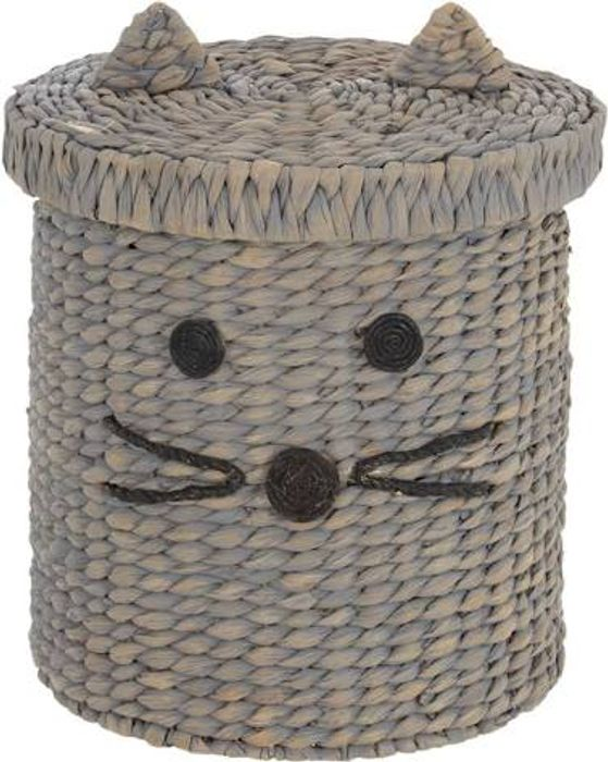 Grey Wicker Cat Storage Basket 34x34cm