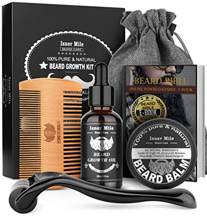Beard Growth Kit, Beard Roller Kit for Facial Hair Growth with £10 off Coupon