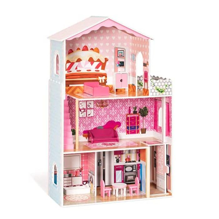 ROBUD Wooden Dolls House with Furniture and Accessories - Only £49.99!