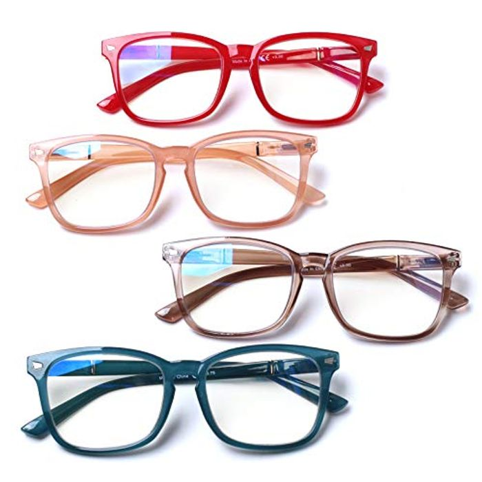 4 Pack Blue Light Blocking Reading Glasses with £8 off Coupon