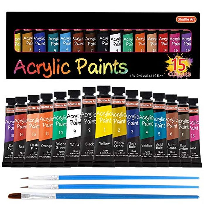 DEAL STACK - 15 X 12ml Tubes Artist Quality Acrylic Paint Set + 20% Coupon