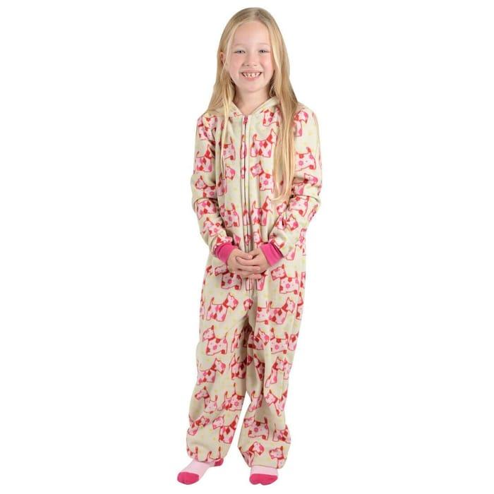 Girls Scotty Dog Print Hooded Fleece All in One Pyjamas