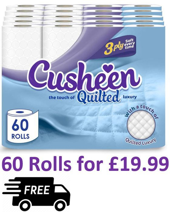 60 Cusheen Quilted White 3 Ply Toilet Rolls **4.6 STARS** | 33p a Roll !