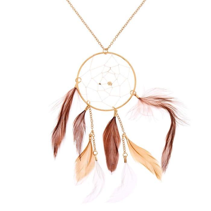 Gold Dreamcatcher Long Pendant Necklace - Brown