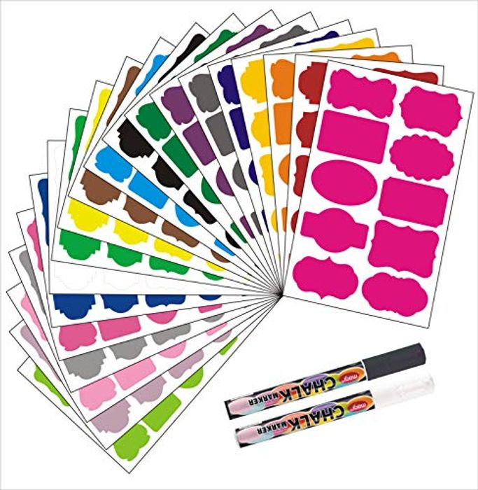 200pcs Chalkboard Labels Stickers 20 Colours with 2 Chalk Pens