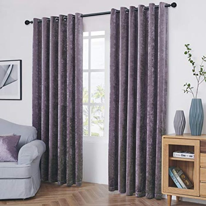 Coastline Crushed Velvet Readymade Fully Lined Curtains - Only £7.25!