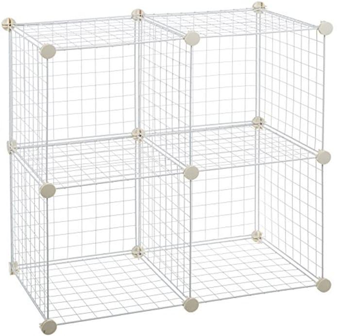 Amazon Basics 4 Cube Wire Storage Shelves - White
