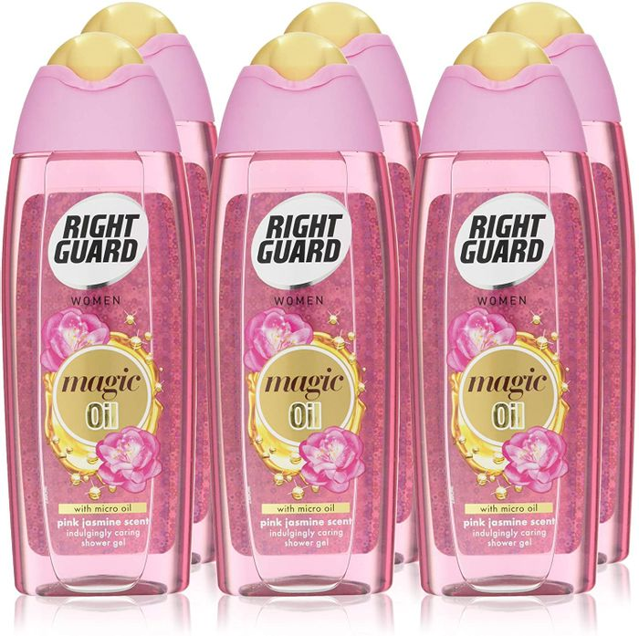 Right Guard Shower Gel, Floral Scent & Magic Micro Oil 250ml - 6 Pack