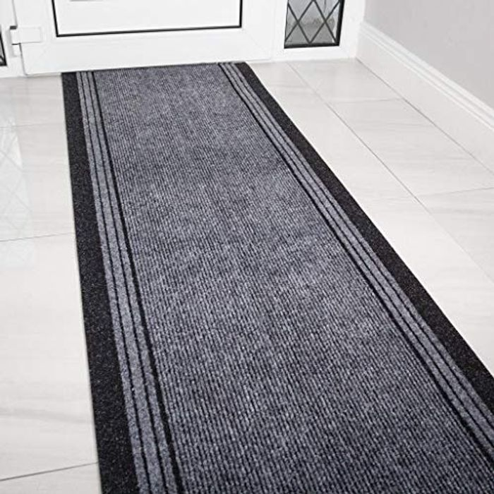 The Rug House 3ft Grey Rubber Backed Hallway Runner