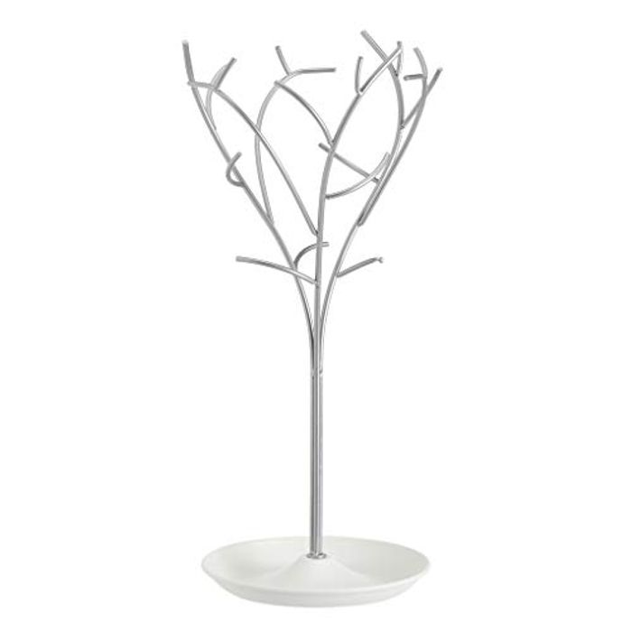 Amazon Basics Jewellery Tree Stand - White/Nickel