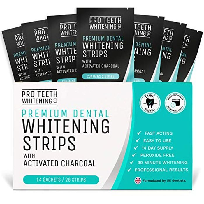 Teeth Whitening Strips with Activated Charcoal - Peroxide Free - Fast Tooth