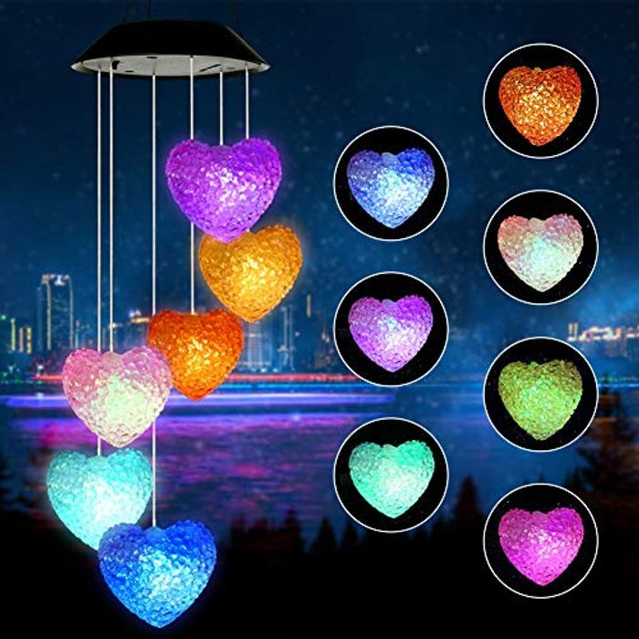 Welltop Wind Chime, Solar Wind Chimes Outdoor Changing Colors