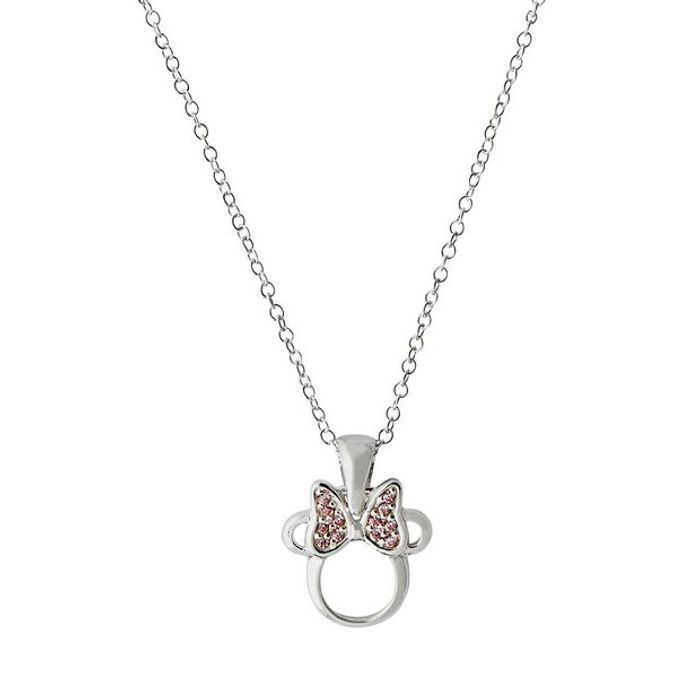 Cheap Disney Sterling Silver Minnie Mouse Pink Crystal Pendant at Argos