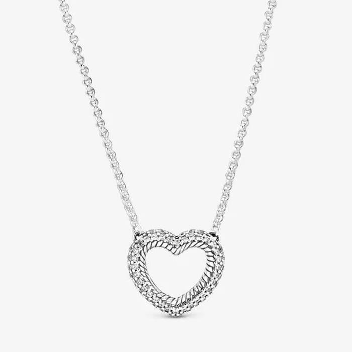 Pav Snake Chain Pattern Open Heart Collier Necklace