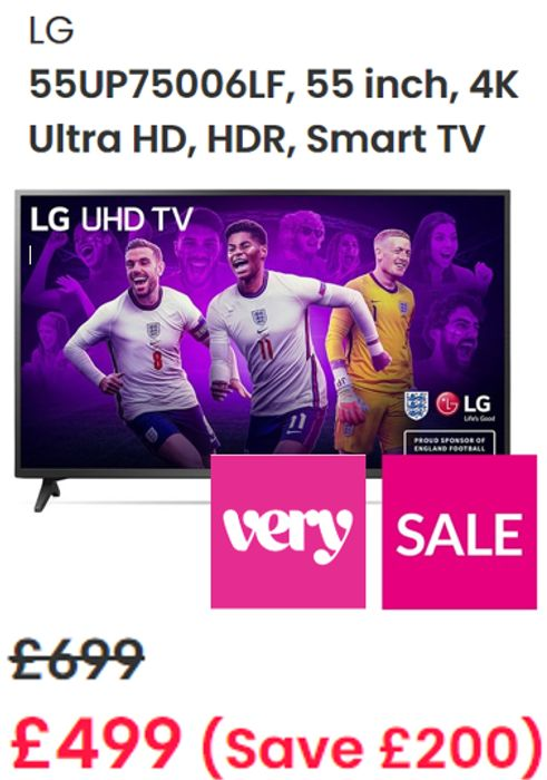 Cheap LG 55 Inch, 4K Ultra HD, HDR, Smart TV - SAVE £200!