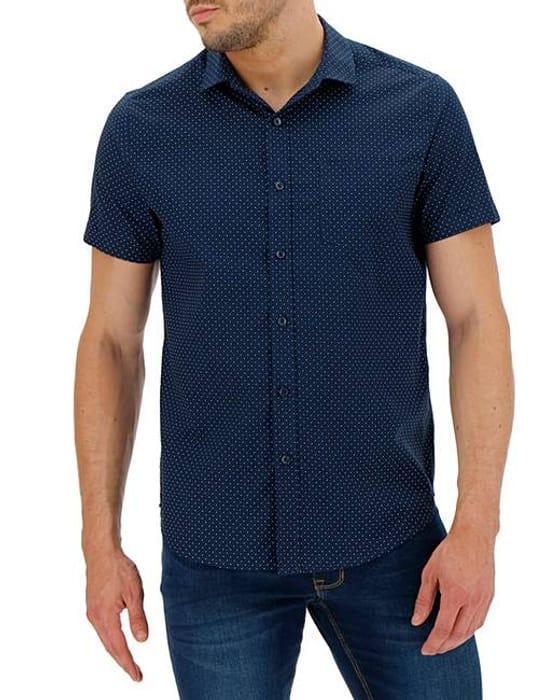 Navy Polka Dot Short Sleeve Shirt Long