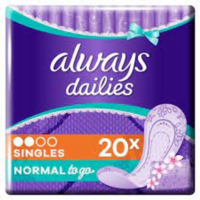 Always Dailies Singles Normal Panty Liners 20 Pack